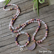 108 Natural Rhodonite Rose Quartz & Amethyst Moon Mala Beads - Free Spirit Shop