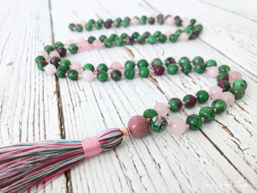 52f5930f9771 108 Natural Rose Quartz   Ruby Green Gemstone Bead Mala Prayer Necklace -  Free Spirit Shop. Previous slide