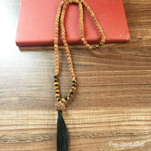 108 Natural Rudraksha & Tiger Eye Stone Bead Mala Prayer - Free Spirit Shop