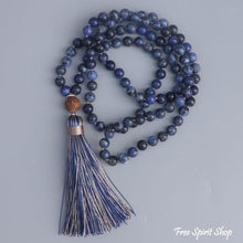 108 Natural Sodalite Mala Bead Necklace - Free Spirit Shop