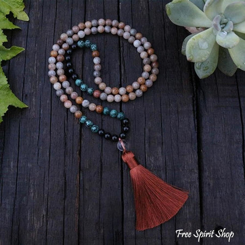 108 Natural Sunstone African Turquoise & Black Onyx Mala Beads Necklace - Free Spirit Shop