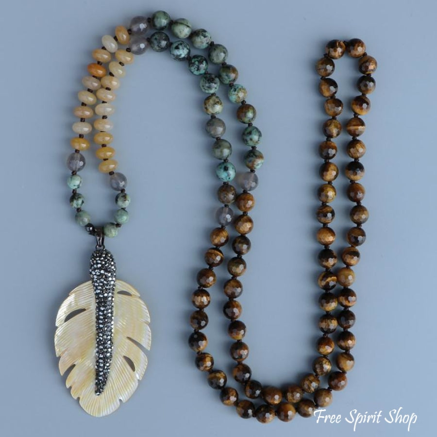 108 Natural Tiger Eye African Turquoise & Yellow Onyx Mala Necklace With Shell Leaf Pendant - Free Spirit Shop