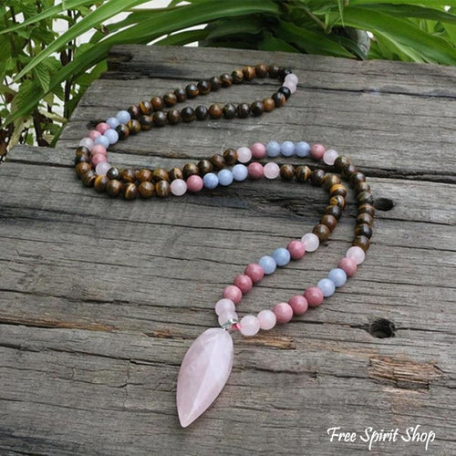108 Natural Tiger Eye Rose Quartz Rhodonite Mala Bead Necklace - Free Spirit Shop