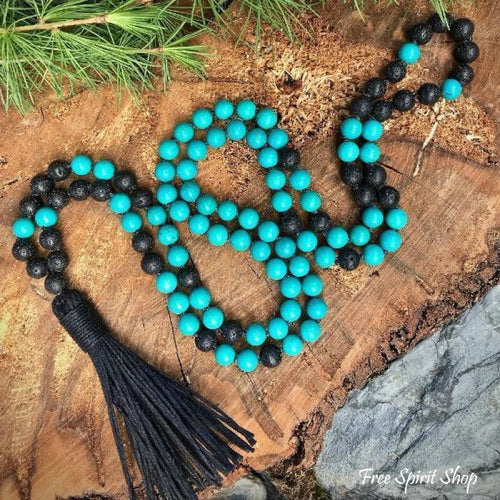 108 Natural Turquoise & Lava Stone Mala Bead Prayer Necklace - Free Spirit Shop
