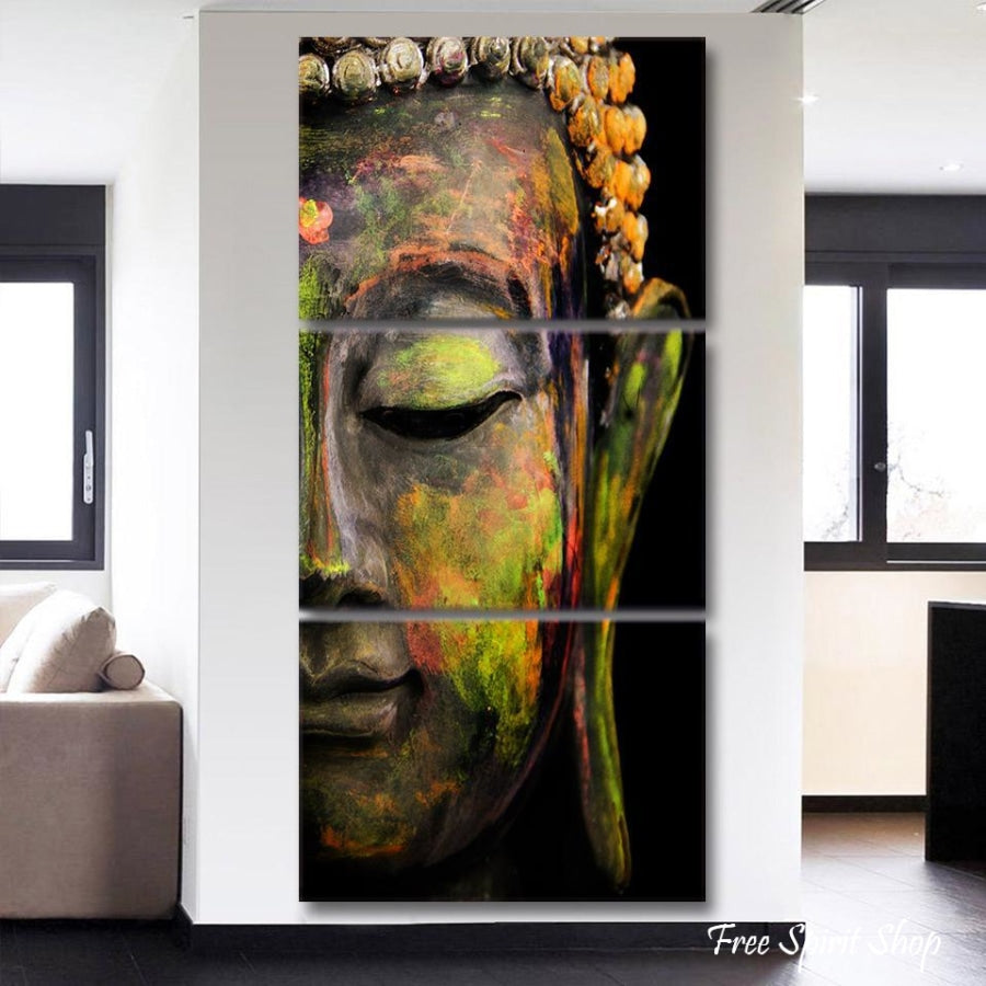 3 Piece Feng Shui Buddha Painting Canvas - Free Spirit Shop