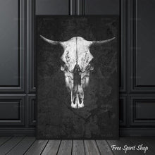 Black and White Boho Cow Skull Canvas Print - Free Spirit Shop