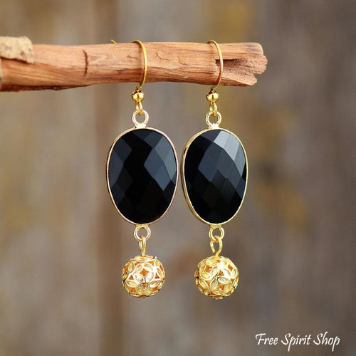 Black Onyx & Golden Flower Ball Drop Earrings - Free Spirit Shop