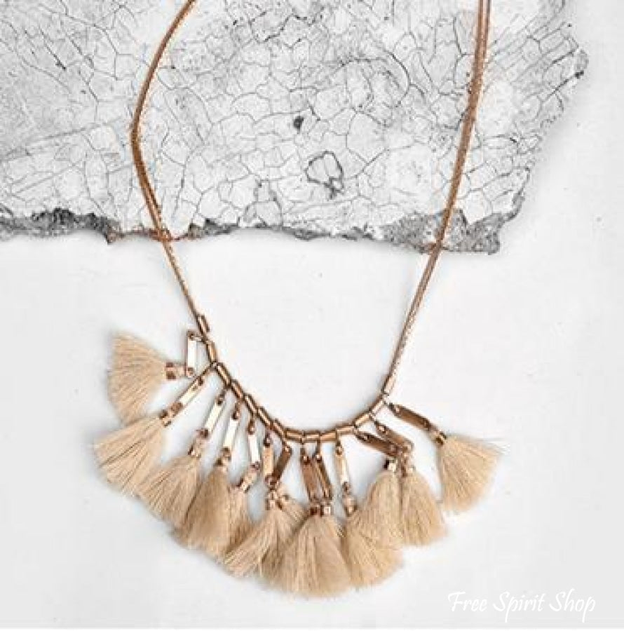 Bohemian Beige Tassel Necklace - Free Spirit Shop