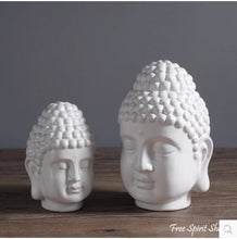 Buddha Head Statue in White Ceramic & Enamel - Free Spirit Shop