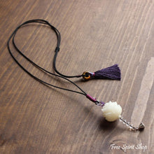 Hand-carved Natural White Bodhi Seed Flower Necklace - Free Spirit Shop