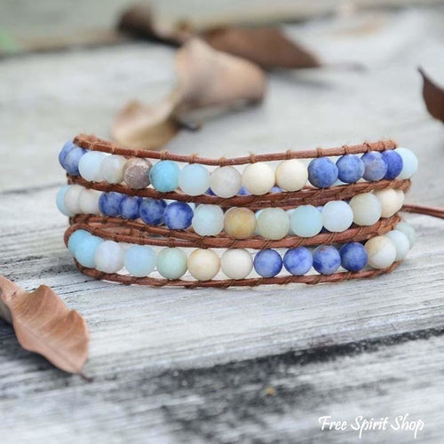 Handmade Natural Amazonite & Sodalite Leather Wrap Bracelet - Free Spirit Shop