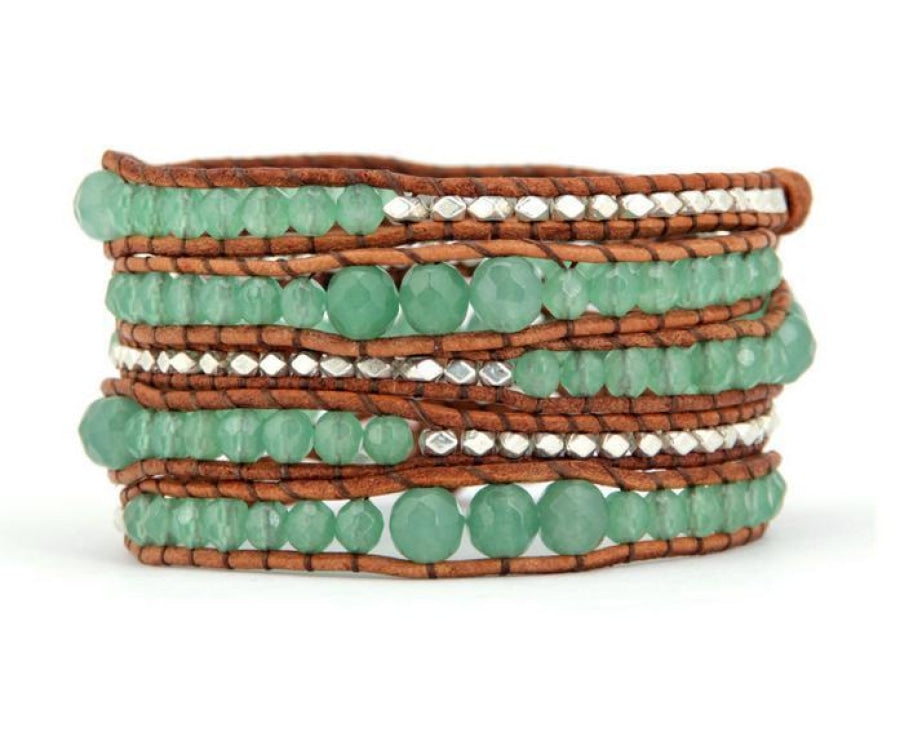 Handmade Natural Aventurine Gemstone & Leather Wrap Bracelet - Free Spirit Shop