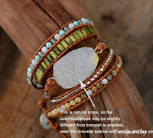 Handmade Natural Chrysanthemum Gemstone Leather Wrap Bracelet - Free Spirit Shop