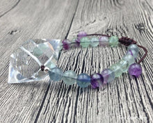 Handmade Natural Fluorite & Clear Quartz Adjustable Bracelet - Free Spirit Shop