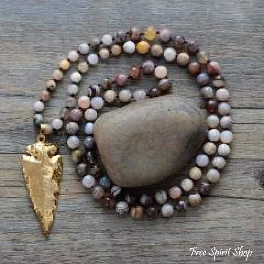Handmade Natural Jasper & Agate Stone With Gold Plated Arrowhead Pendant - Free Spirit Shop