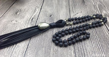 Handmade Natural Lava Stone & Pyrite Mala Necklace With Leather Tassel - Free Spirit Shop