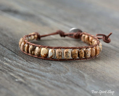 Handmade Natural Semi-precious Jasper Bead Leather Bracelet - 3 Colours - Free Spirit Shop