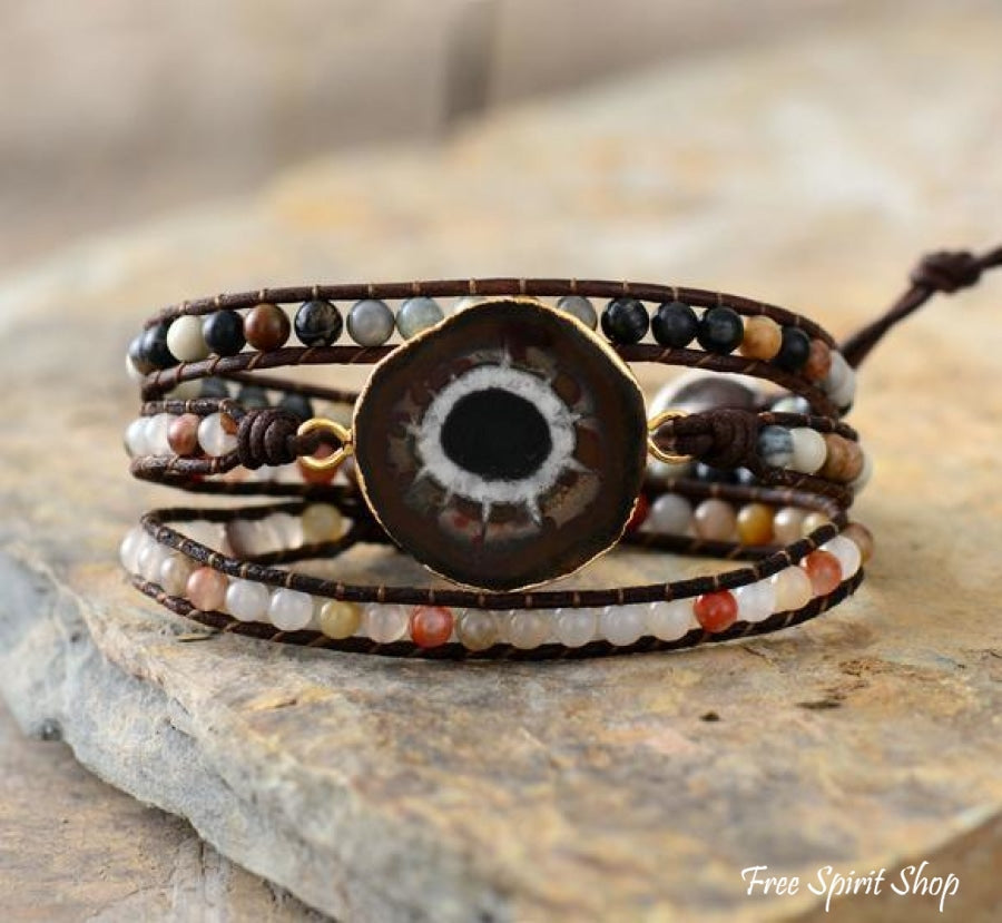 Handmade Natural Sun Jasper Gemstone Leather Wrap Bracelet - Free Spirit Shop