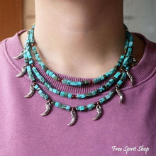 Handmade Turquoise Three Layer Beaded Choker Necklace - Free Spirit Shop