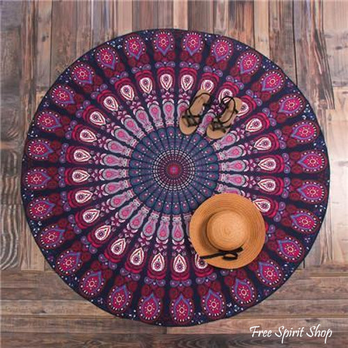 Light Weight Polyester Mandala Peacock Flower Roundie - 6 colours - Free Spirit Shop