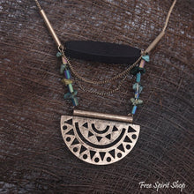 Long Gypsy Natural Stone Geometric Necklace - Free Spirit Shop