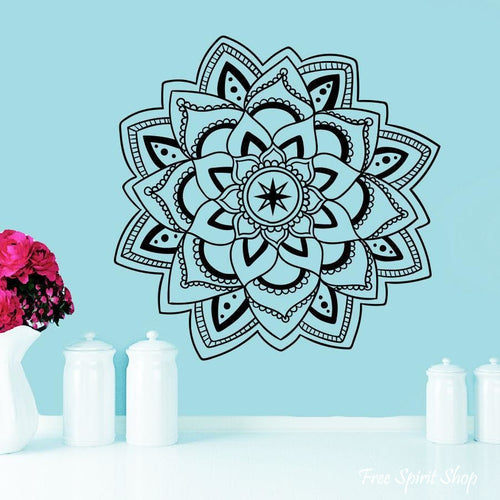 Mandala Lotus Flower Wall Sticker - Free Spirit Shop