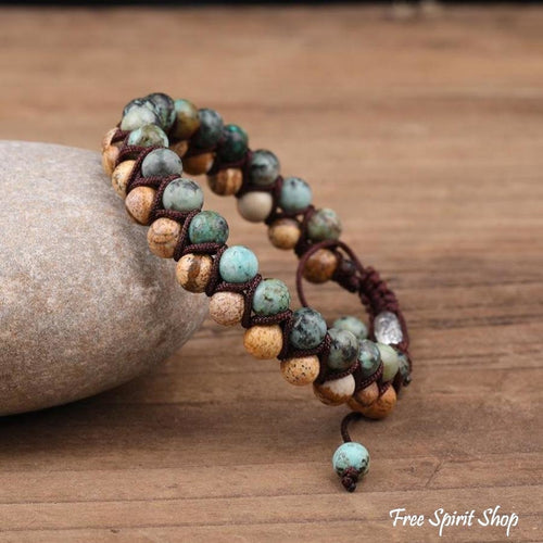 Natural African Turquoise & Picture Jasper Braided Bracelet - Free Spirit Shop