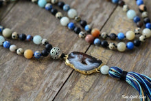 Natural Agate Druzy & Mixed Gemstones Tassel Necklace - Free Spirit Shop