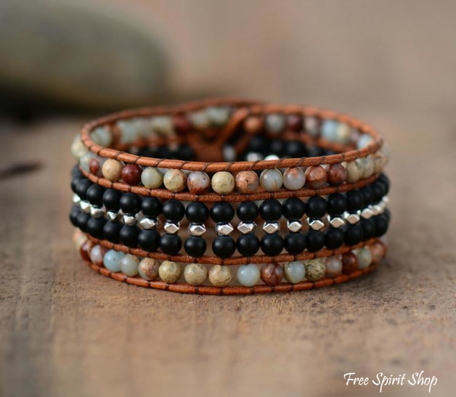Natural Amazonite & Black Onyx Leather Wrap Bracelet - Free Spirit Shop