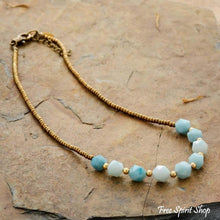 Natural Amazonite Nuggets & Seed-bead Choker Necklace - Free Spirit Shop