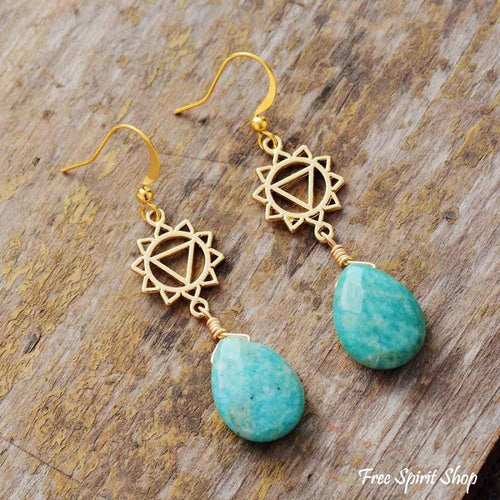 Natural Amazonite Spiritual Chakra Earrings - Free Spirit Shop