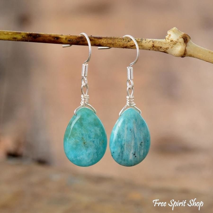 Natural Amazonite Teardrop Earrings - Free Spirit Shop