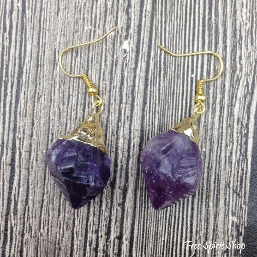 Natural Amethyst Gemstone Nuggets Gold Plated Earrings - Free Spirit Shop