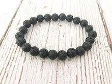 Natural Black Lava Stone Mala Bead Bracelet - Free Spirit Shop