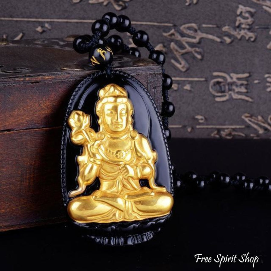 Natural Black Obsidian & Gold Plated Buddha Necklace - 8 designs - Free Spirit Shop