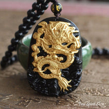 Natural Black Obsidian & Gold Plated Dragon Necklace - Free Spirit Shop