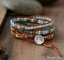 Natural Crystal Amazonite & Agate Stone 5 Leather Wrap Bracelet - Free Spirit Shop
