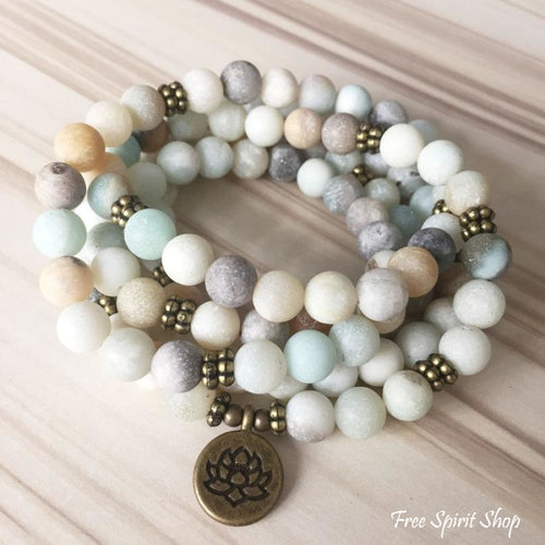Natural Frosted Amazonite Stone 108 Mala Prayer Beads Bracelet - Free Spirit Shop