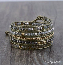Natural Green Labradorite & Bronze Leather Wrap Bracelet - Free Spirit Shop