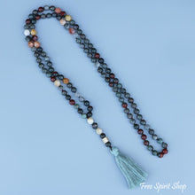Natural Indian Bloodstone & Egg Stone Bead Mala Necklace - Free Spirit Shop