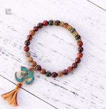 Natural Jasper OM Mala Bead Bracelet - 6 colors - Free Spirit Shop