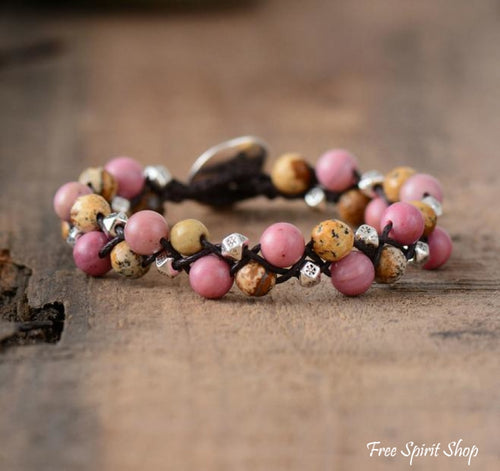 Natural Jasper & Rhodonite Gemstone Wrap Bracelet - Free Spirit Shop