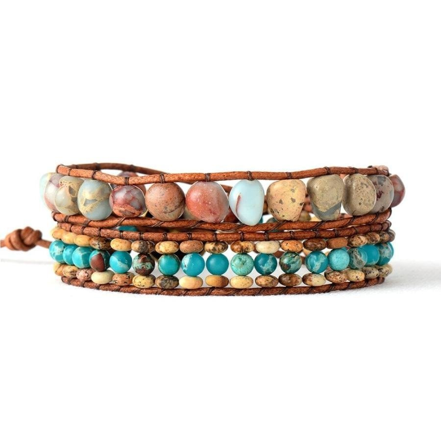 Natural King & Picasso Jasper Stone Wrap Bracelet - Free Spirit Shop