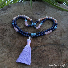 Natural Lapis Lazuli Rose Quartz & Pink Aventurine Mala Bead Necklace - Free Spirit Shop
