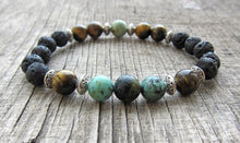 Natural Lava Stone African Turquoise & Tiger Eye Gemstone Bracelet - Free Spirit Shop