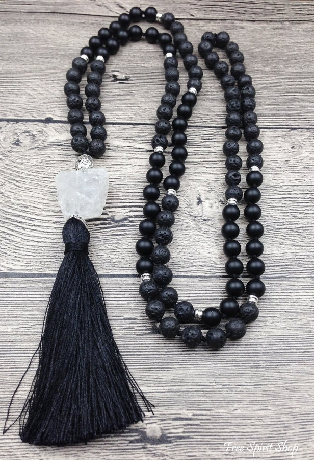 Natural Lava Stone Black Agate & Quartz Mala 108 Bead Prayer - Free Spirit Shop