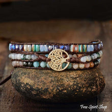 Natural Mixed Gemstones & Tree of Life Wrap Bracelet - Free Spirit Shop