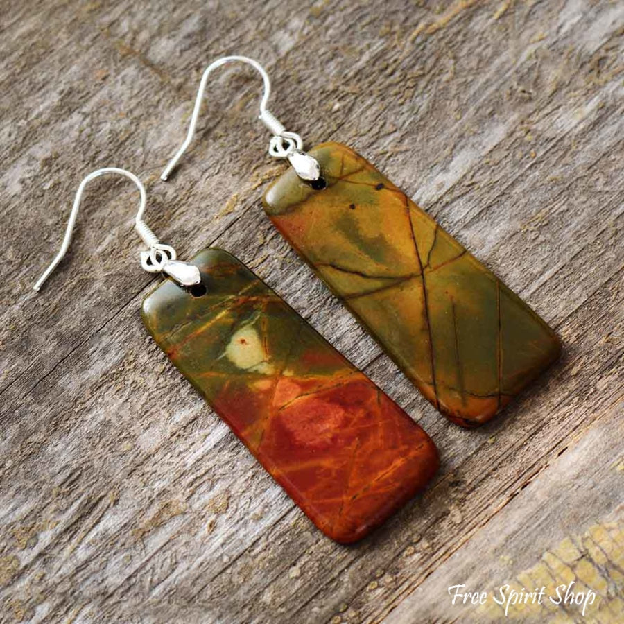Natural Picasso Jasper Rectangle Drop Earrings - Free Spirit Shop