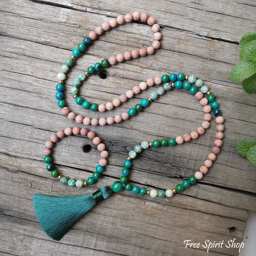Natural Pink Sand Stone & Chrysocolla Mala Bead Necklace / Bracelet - Free Spirit Shop
