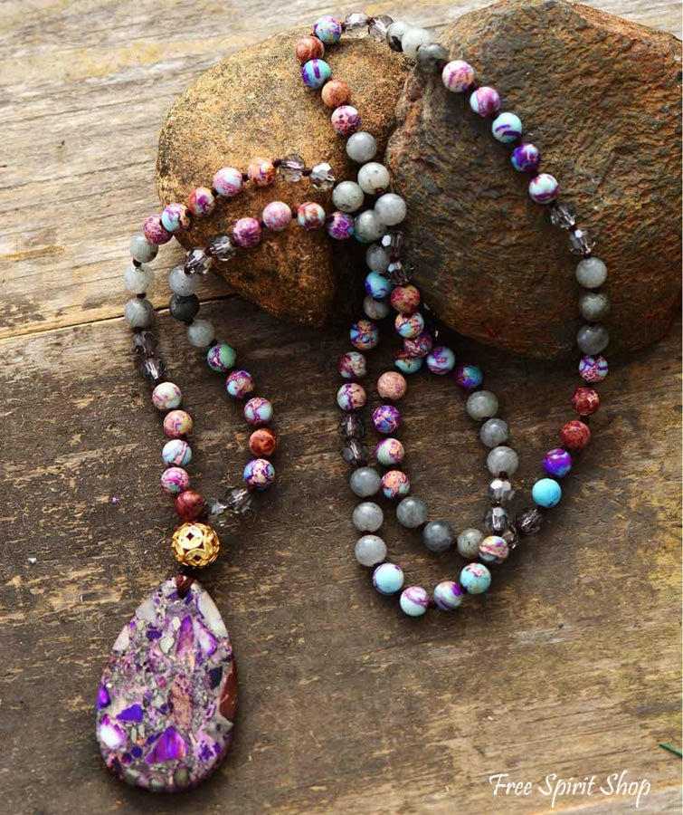 Natural Purple Jasper & Labradorite Beaded Necklace - Free Spirit Shop